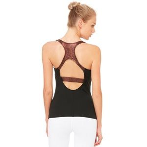Alo Yoga Venture Bra Tank Black Copper Metallic